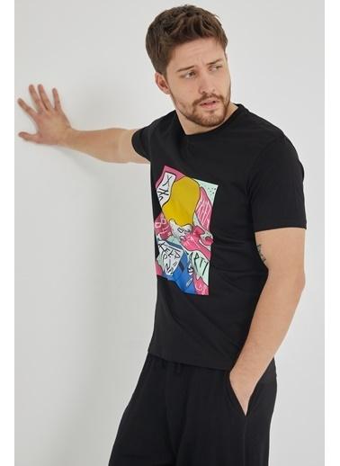 XHAN Kırmızı Baskılı T-Shirt 1Kxe1-44651-04 Siyah